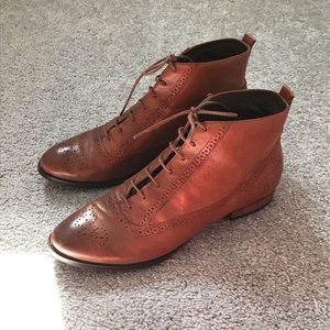free people brown leather ankle boots size 7.5